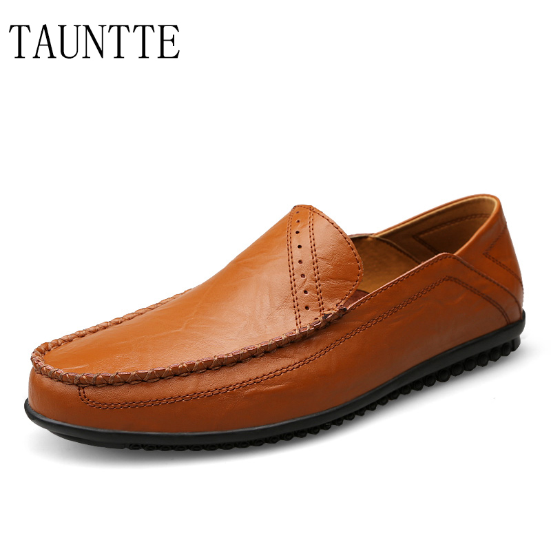 Tauntte Fashion Genuine Leather Loafers Men Breathable Anti-Slip Driving Shoes Slip On Casual Shoes men s crocodile emboss leather penny loafers slip on boat shoes breathable driving shoes business casual velet loafers shoes men