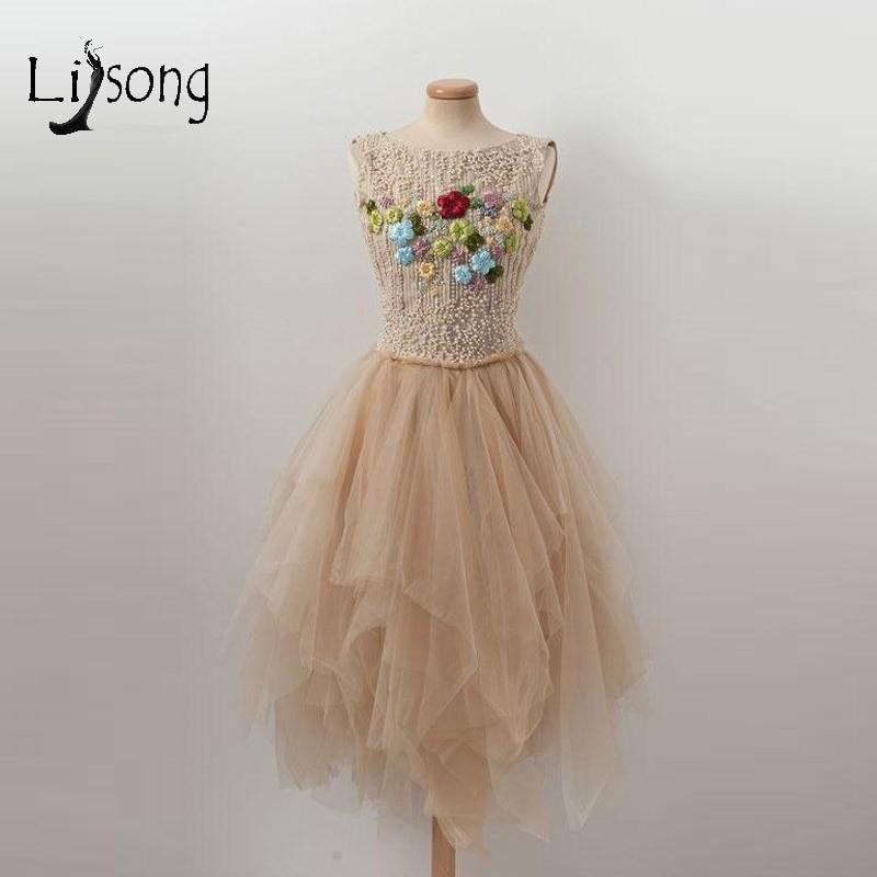 Abiye Champagne perles Tulle robes De soirée dos nu asymétrique volants robes De soirée fleur robes formelles Robe De soirée