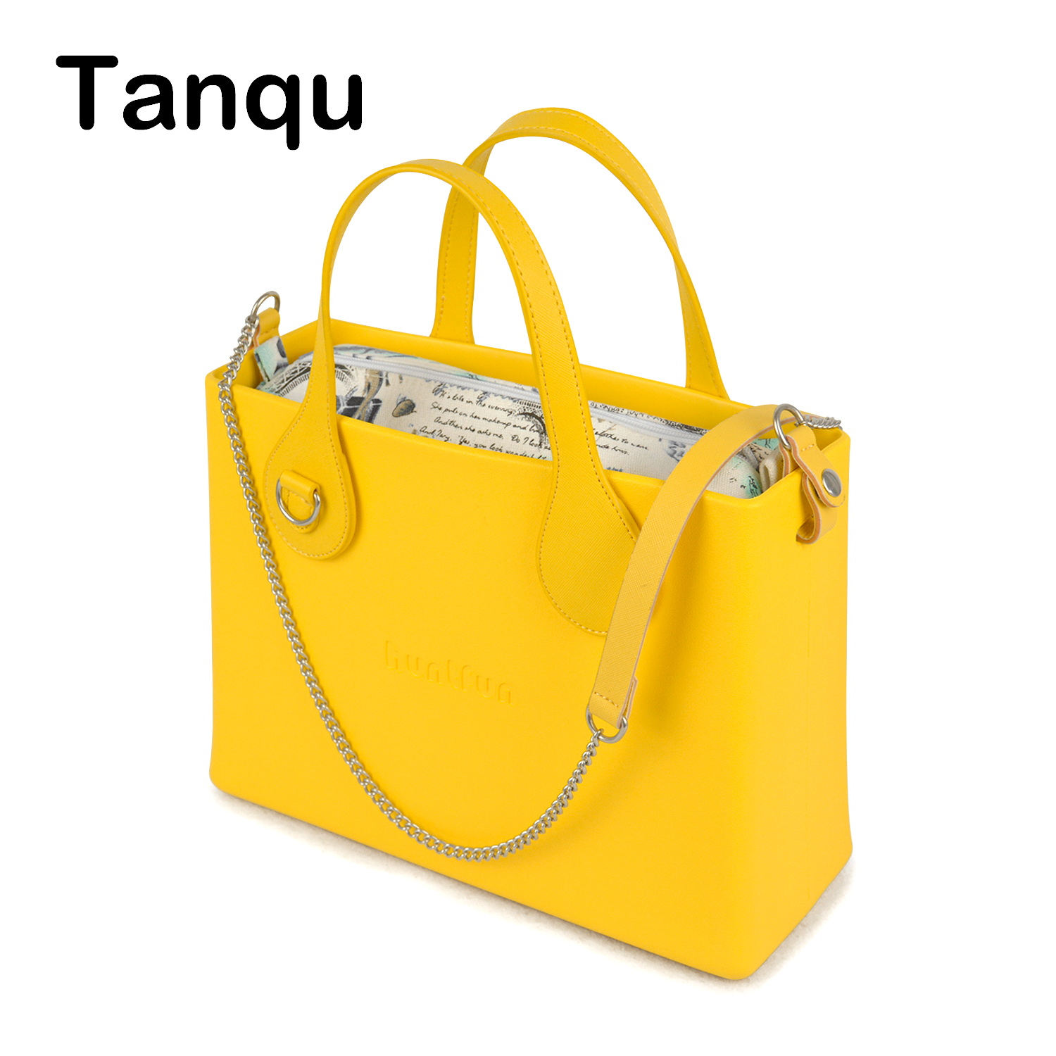 Tanqu O Bag Style huntfun Rubber Silicon Square Bag with D Buckle Handle Crossbody Chain Insert