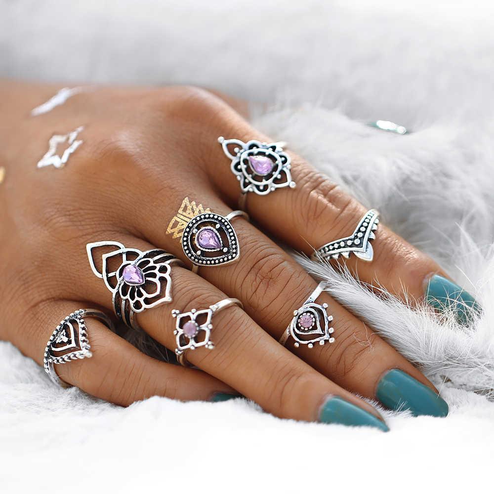 אם לי בוהמי לוטוס סגול קריסטל טבעת סטים לנשים בציר רטרו כסף צבע מים Drop צורת Midi Knuckle טבעות תכשיטים