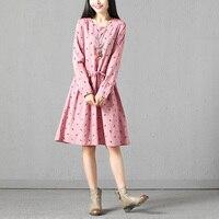 Animal Horse Pattern Long Sleeve Cotton Linen Dress Women Casual Autumn Spring New Drawstring Waist Pullover