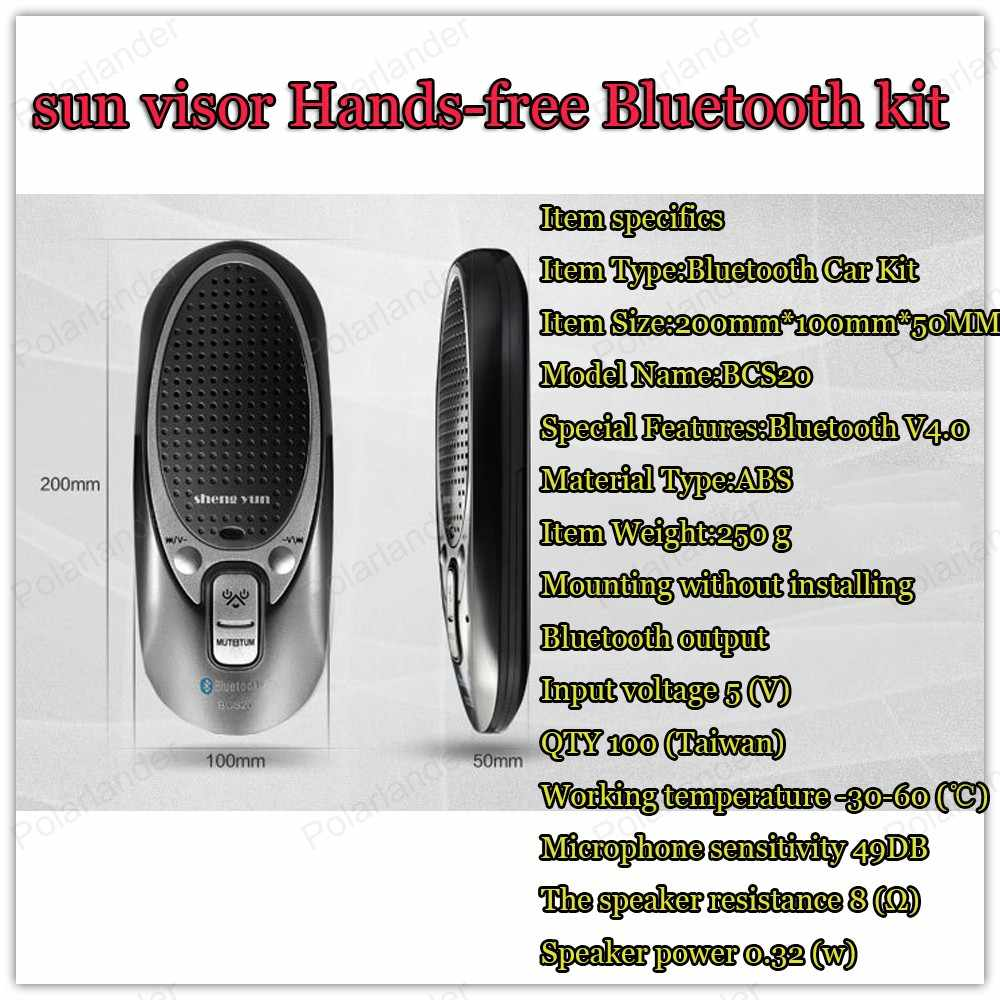 Handsfree intercom systeem zon visorwith multifunctionele autolader fijne clip mini auto-styling Bluetooth V4.0 + EDR Mp3-speler