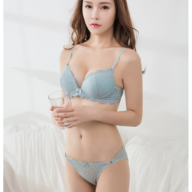 87df86c5926d1 Fashion sexy deep lace V-neck Bra + Briefs young girl underwear panties  small push up brassiere lingerie adjustable bra set