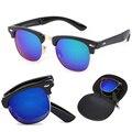 Óculos De Sol quentes Homens Rebite Dobrar Raios de Design Da Marca Óculos de Sol Mulheres Espelhar Óculos De Sol Oculos De Sol Feminino Óculos De Sol Do Metal Do Vintage