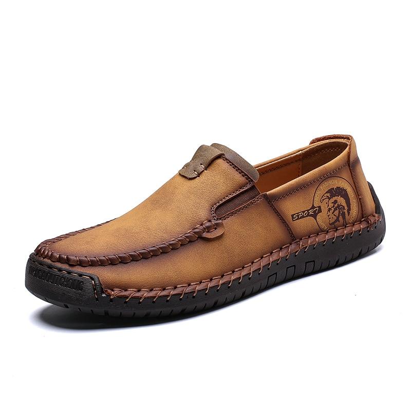Нове надходження гарячого ущільнення шкіри дихаюче повсякденне взуття чоловіків мокасини взуття м'які дихаючі квартири водіння взуття плюс розмір 37-48