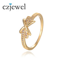 Gold Color Cross infinity Crystal Ring anel bijoux women bagues Knuckle Ring Statement Jewelry anillos Wedding Rings