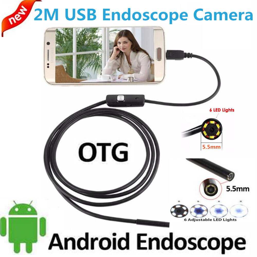 2M 5.5MM Lens Inspection Android USB Borescope USB Android OTG USB Endoscope Camera Waterproof Snake Tube Pipe For Android PC 2m mini android usb endoscope camera 5 5mm lens snake tube waterproof android phone otg usb endoscope borescope camera 6pcs led