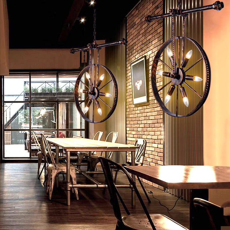 Industry retro loft pendant lamps iron wheel pipe lighting fixture restaurant dining room pub bar cafe lights vintage chandelier