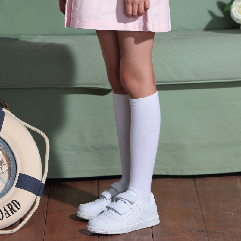 Knee High Socks Kids Boys Girls Long Tube Socks for School Uniform Children White Socks Harajuku Socks Long Student Black 4-15Y