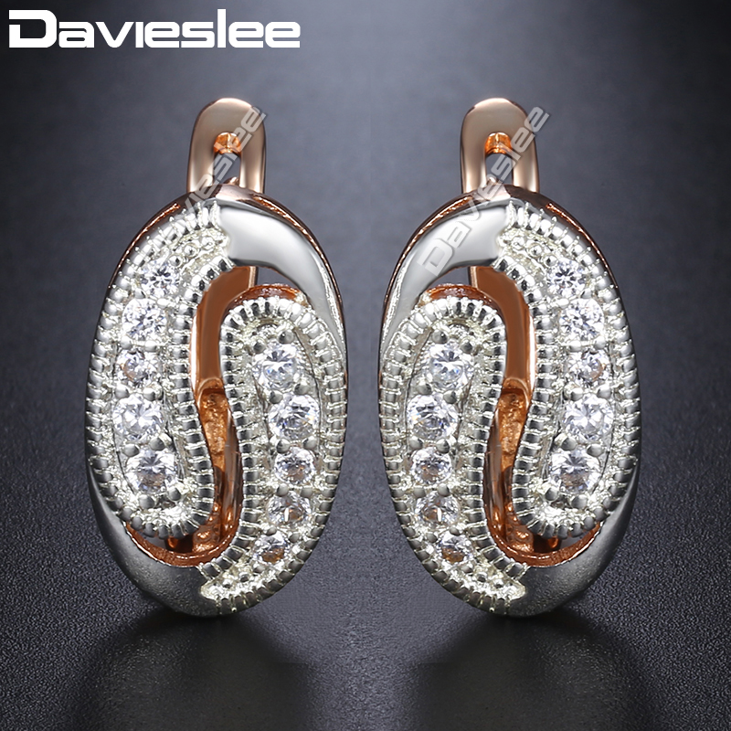 6b13e1e77 Davieslee 585 Rose Gold Filled Stud Earrings Oval Tai Chi Shaped Paved CZ  Snap Fashion Jewelry For Women Stud Earrings DGE180-in Stud Earrings from  Jewelry ...