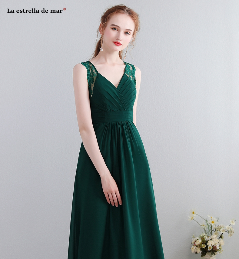 Robe demoiselle d honneur 2018 new lace chiffon back a line dark green  bridesmaid dresses long plus size vestido madrinha-in Bridesmaid Dresses  from ... 9dbc97e465ba
