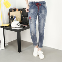 Retro Big Size Women Elastic Waist Thin Autumn Ladies Denim Long Jeans XL 5XL TC G182