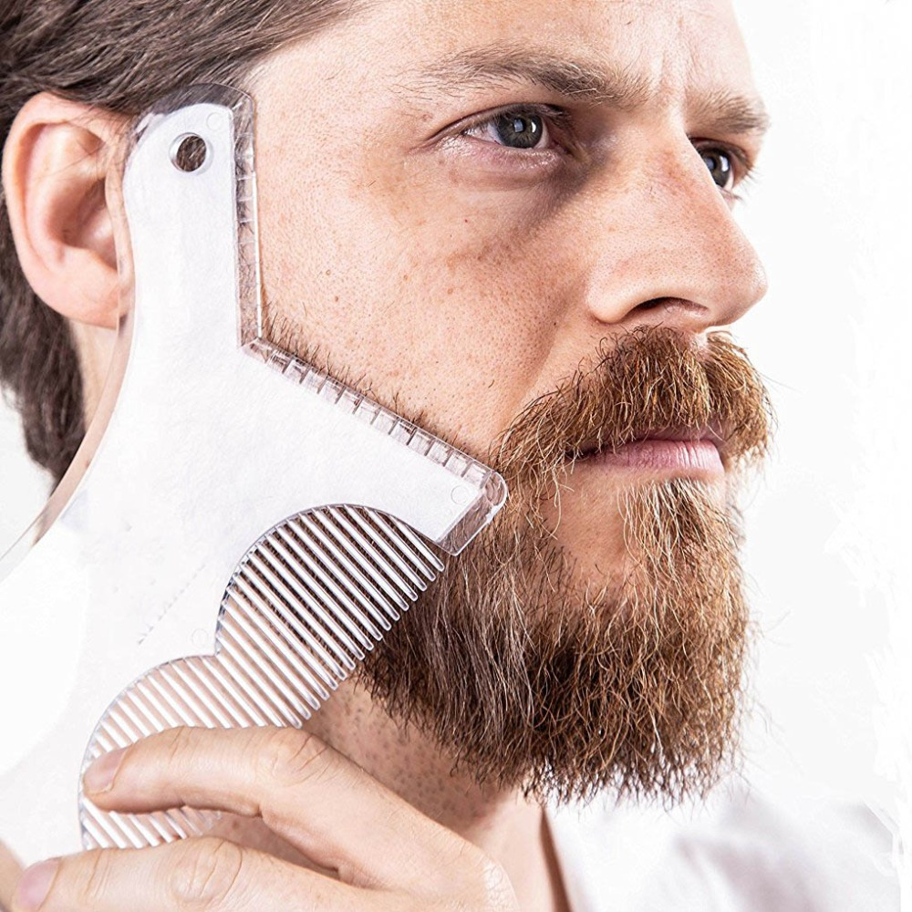 OSHIONER Beard Shaping Styling Tool Beard Stencil Guide Template Comb For Men Style Beard Hair Line Up Edging Tool