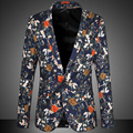 2015 chegada nova Mens Floral Blazer Terno Personalidade Blazer Casual Para homens Slim Fit Paletó Moda Tops Brasão Plus Size 6XL