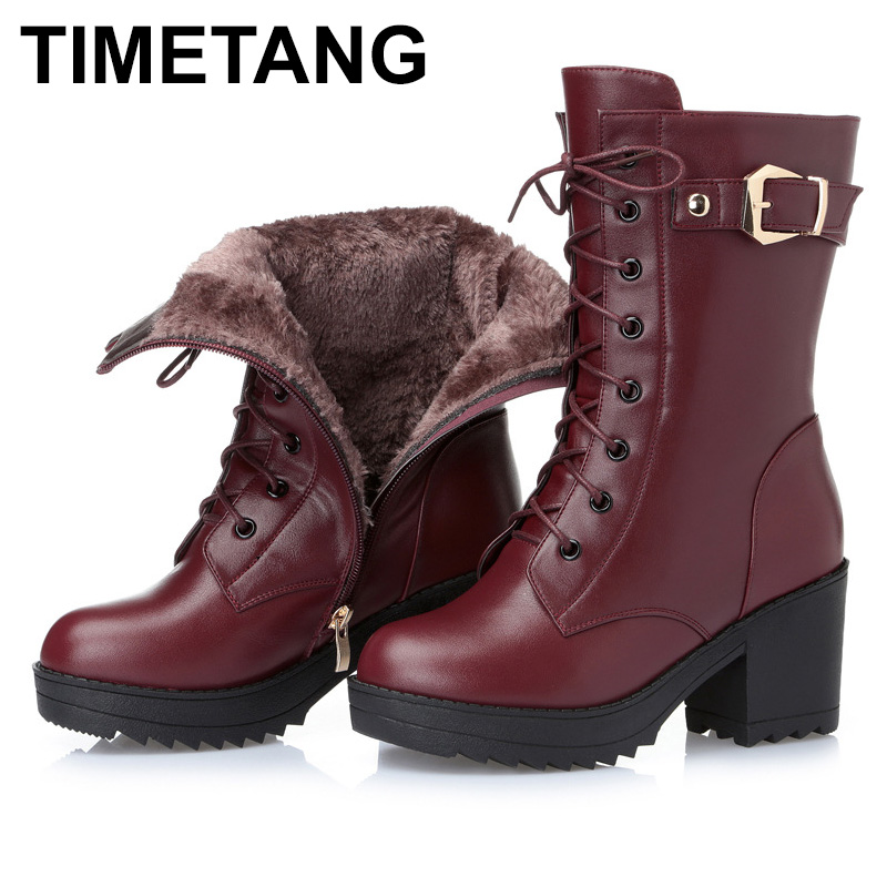 TIMETANG 2018 Winter Warm Comfort Genuine Leather Boots Inside Wool or Plush Snow Boots Thick Bottom High-heeled Boots Women 2016women s genuine leather boots high heeled winter boots designer wool lining motorcycle boots thick snowshoe free shipping