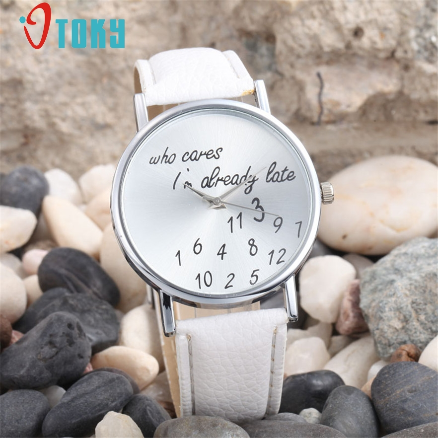 OTOKY Whatever I am Late Anyway Letter Pattern Leather Women Watches New Style Quartz Wristwatch Lady Watch #40 Gift 1pc new fashion funny women watches men watch clock analog quartz whatever i m late anyway pattern wrist watch simple wristwatches