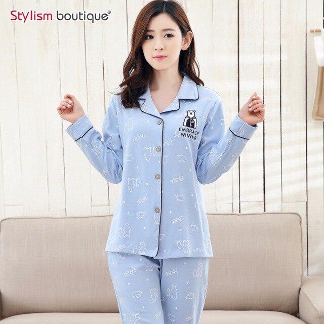 Women s Soft Long Sleeve Pajamas Button Down Sleepwear with Pajamas sets  Plus size pyjamas home clothes a9ce72691