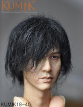 1/6 Scale KUMIK 18-40 Male Paste Figure Head Sculpt PVC Plant Hair Head Carved Model for 1:6 Action Figure Body Accessory exquisite 1 6 scale accessories custom head sculpt carving female kumik 13 10 fit 12phicen cy hot toys woman body action figure