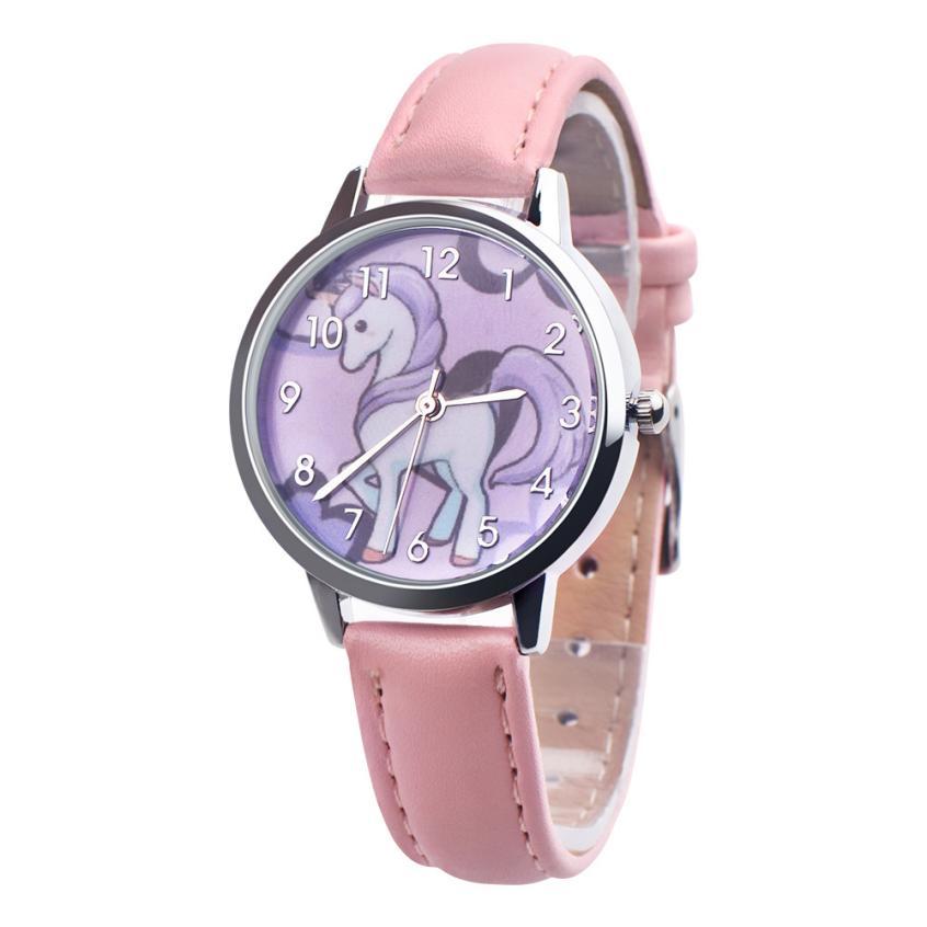 Fashion Watch Women Children's watches Carton Rainbow Animal Kids Girls Leather Band Analog Alloy Quartz wristwatches Clock A60