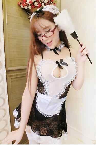Sexy egzotyczne kostiumy pokojówka sukienka dziewczyna damska Cosplay jednolity strój kobieta panie fantazyjne stokrotki gorsety Halloween czarna spódnica satynowa