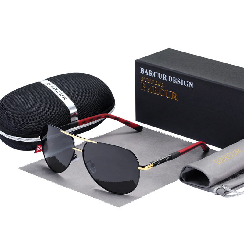 BARCUR Fashion Glasses Hot Style Men sunglasses Polarized UV400 Protection Driving Sun Glasses Male Oculos de sol 12