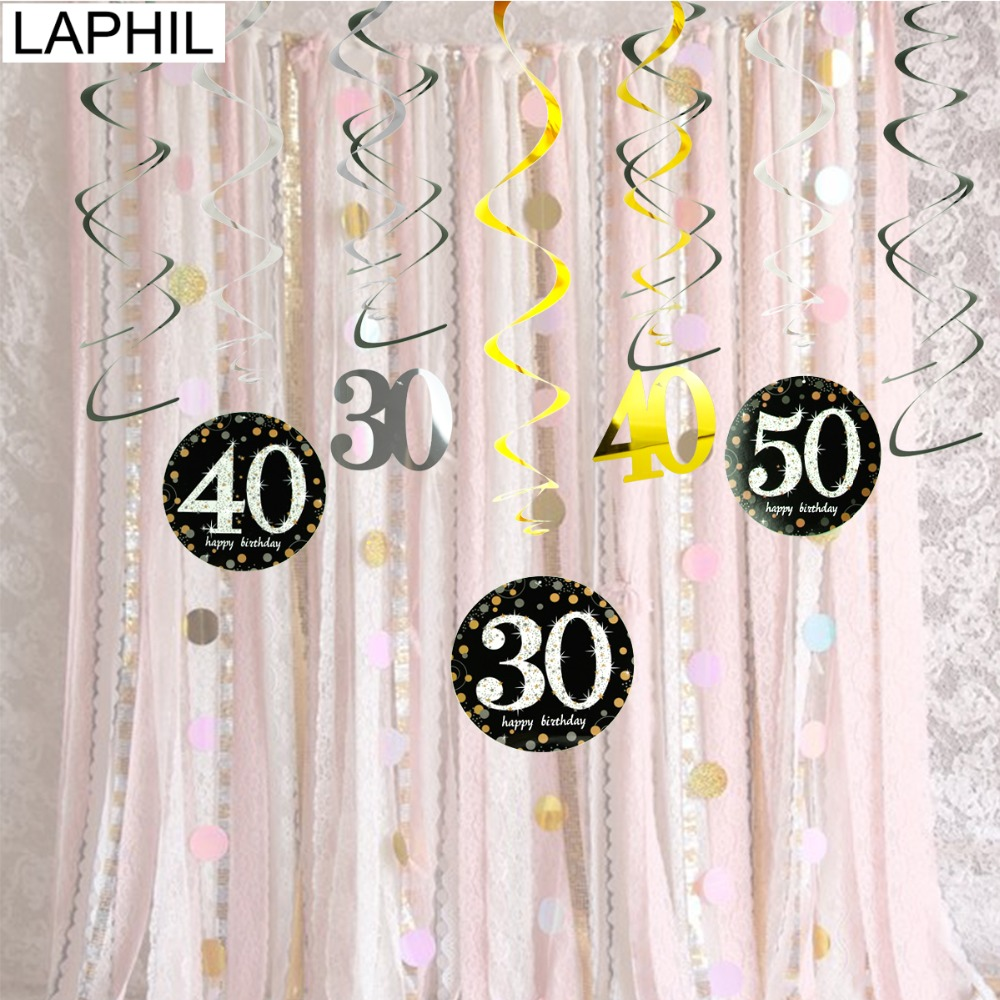 LAPHIL 12pcs 30th Birthday Hanging Swirl Spiral Black Gold Happy Party Decorations Adult 30 40 50 60 Years Favors