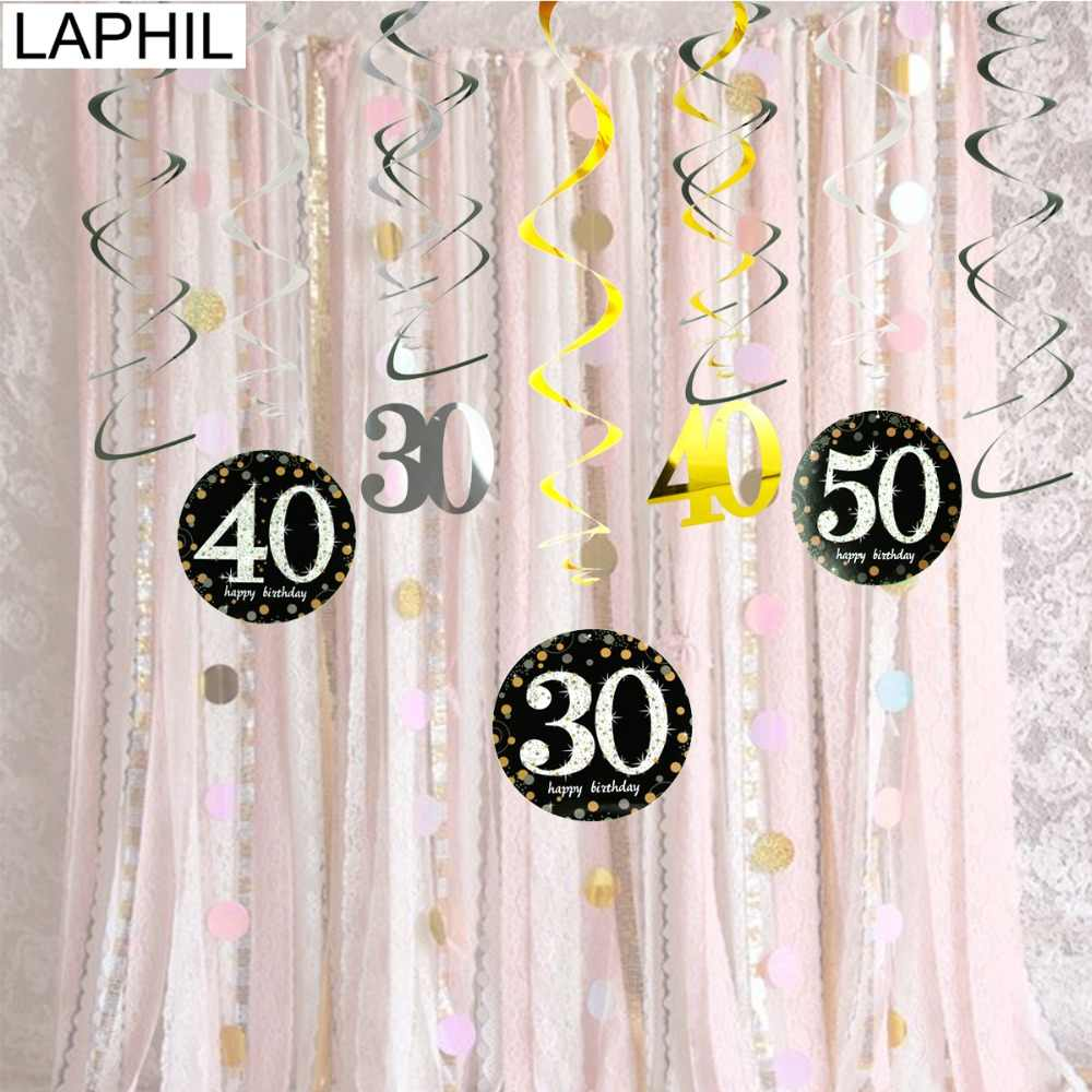 LAPHIL 12pcs 30th Birthday Hanging Swirl Spiral Black Gold Happy Party Decorations Adult 30 40