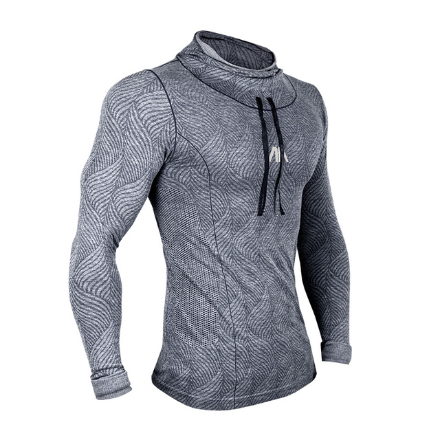 71688e8d Men Fitness Gym Long Sleeve Hooded Bodybuilding Slim Fit Pullover Cloth Gym  Training Sweatshirt Muscle Fit Compression T Shirt