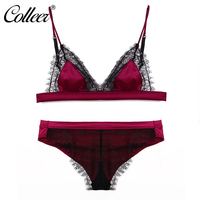 COLLEER Pretty Mary Women Lace Sexy Underwear Eyelash Look Bralette Wire Free Sexy Velvet Bra Sets
