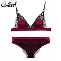 COLLEER Pretty Mary Women Lace Sexy Underwear Eyelash Look Bralette Wire Free Sexy Velvet Bra Sets