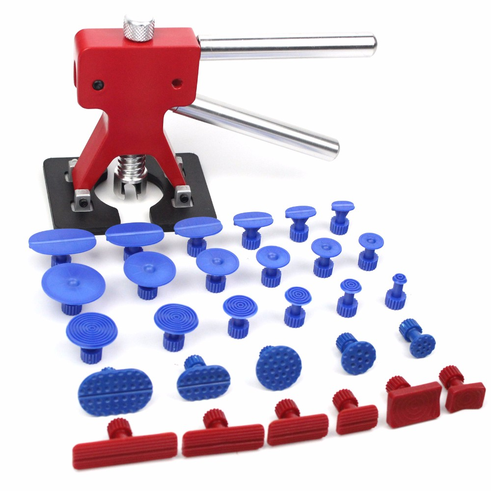 ФОТО Red dent lifter with 29 pcs tabs Automotive Paintless Dent Repair Removal Hail PDR Tools Dent Lifter Puller Tabs Kits