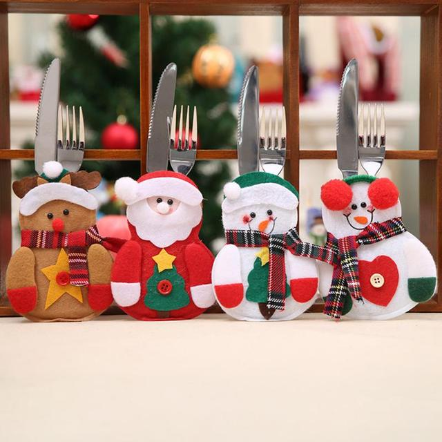 Christmas Decorations for Home Party Table Cutlery Bags Snowman Santa Claus Tableware Holder Pocket Navidad Natal Ornaments