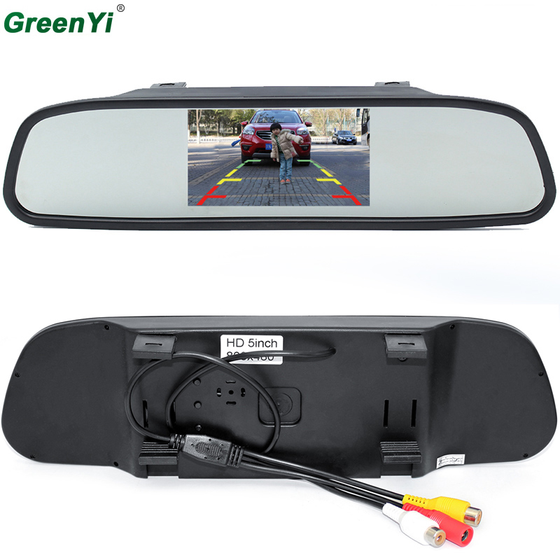 GreenYi HD 800*480 Car Mirror Monitor 5 TFT LCD Mirror Car Parking Rear View Monitor 2 Video Input Connect Rear/ Front Camera sinairyu hd 800 480 car mirror monitor 5 tft lcd mirror car parking rear view monitor 2 video input connect rear front camera