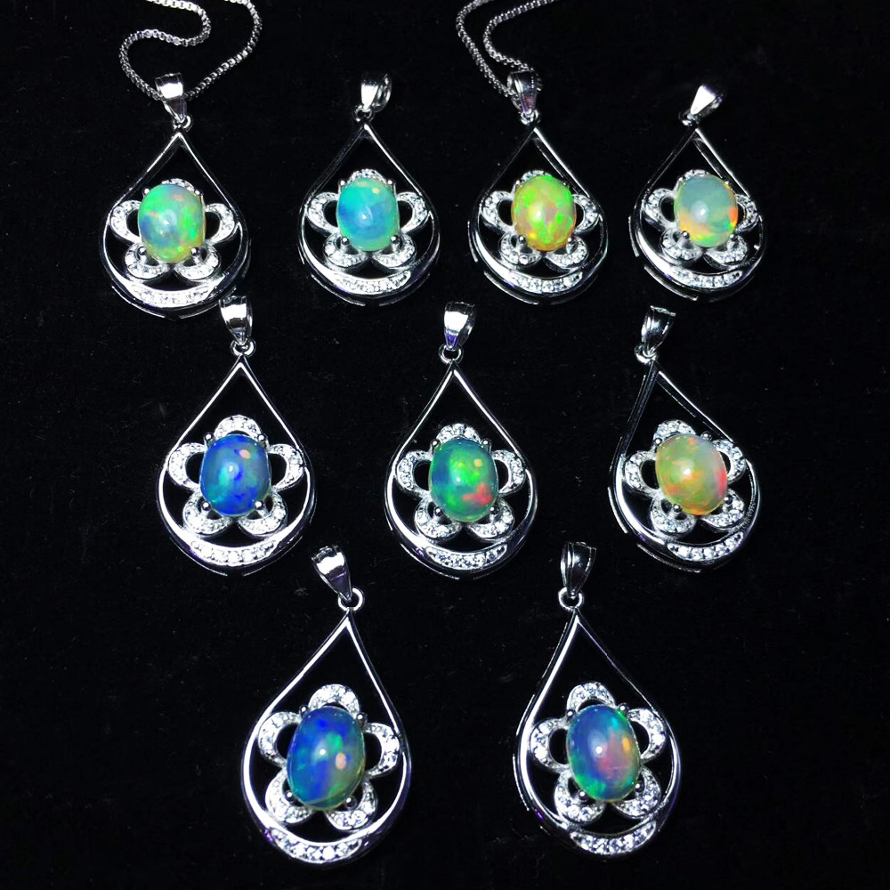 100% Real Natural Opal Pendant Multiple colors 925 Sterling Silver Flower Women Pendant Gift with Oval 7X9mm Opal without Chain
