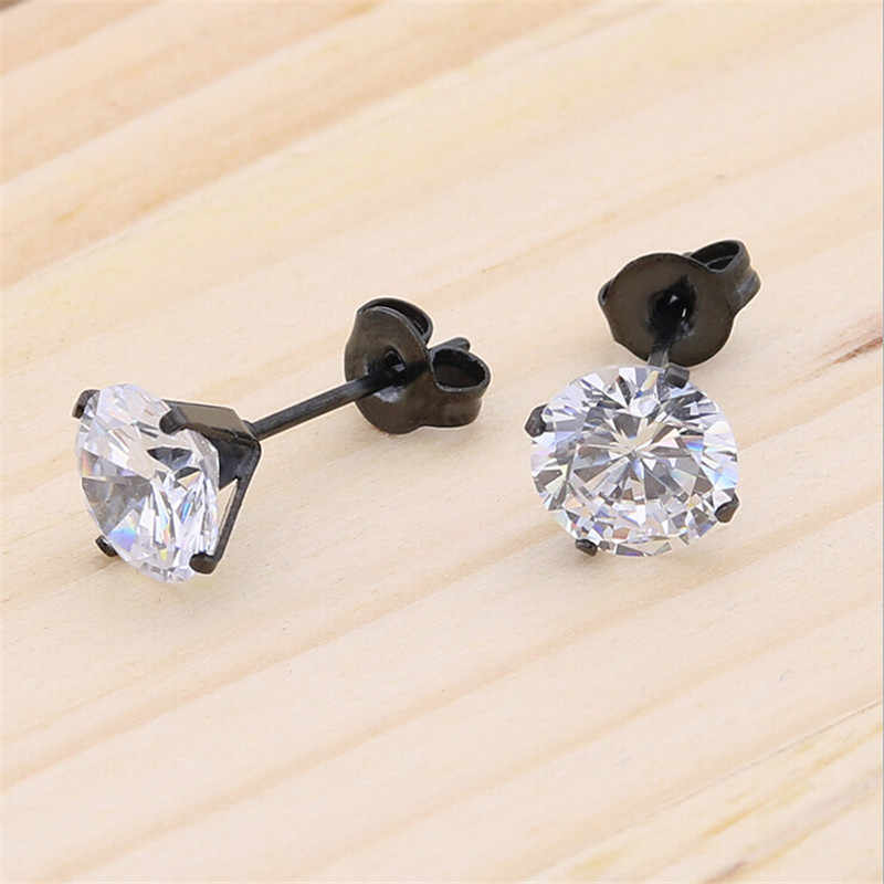 new arrival gold silver black color stainless steel round stud earrings AAA crystal stud earrings for women fashion jewelry