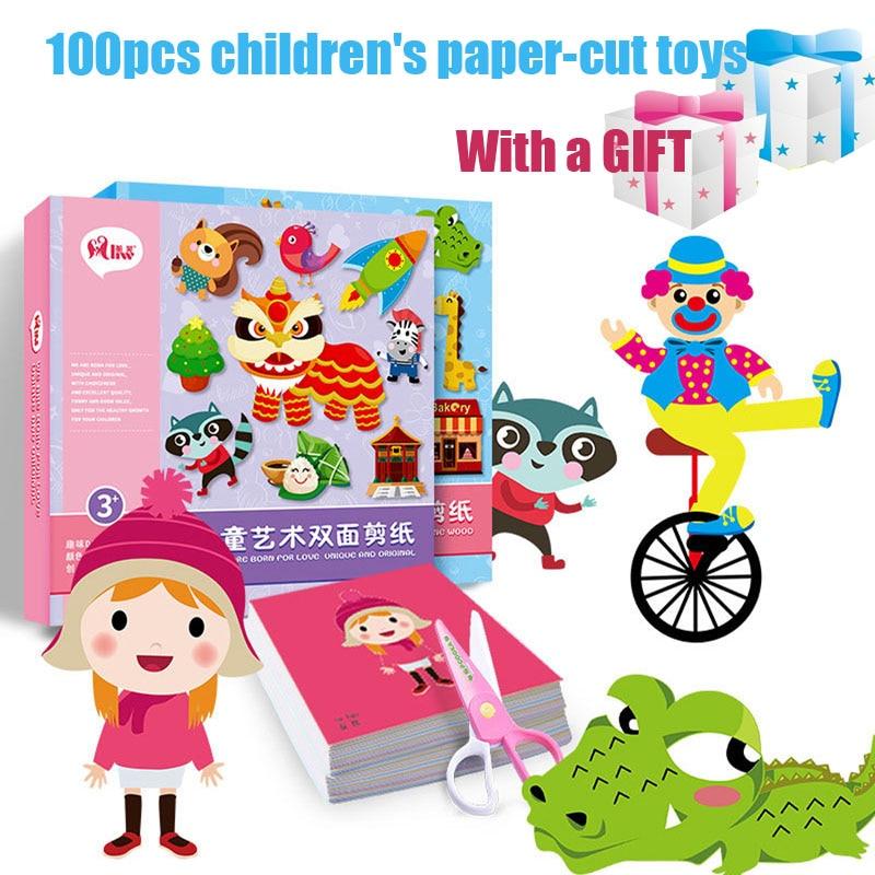 100pcs/set Kids Cartoon Color Paper Folding And Cutting Toys/children Kingergarden Art Craft DIY Montessori Educational Toys
