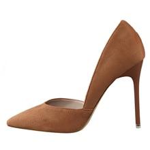 {D & Henlu} נשים של סקסי גבוהה העקב ד אורסיי ושני חתיכה דק העקב הבוהן מחודדת משאבות 10.5 cm לעבוד נעלי OL משאבות חום נעלי אישה