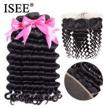 ISEE волосы человеческие волосы пучки с фронтальной 13*4 предварительно сорвал кружева фронтальной Remy перуанские свободные глубокие пучки с фронтальной