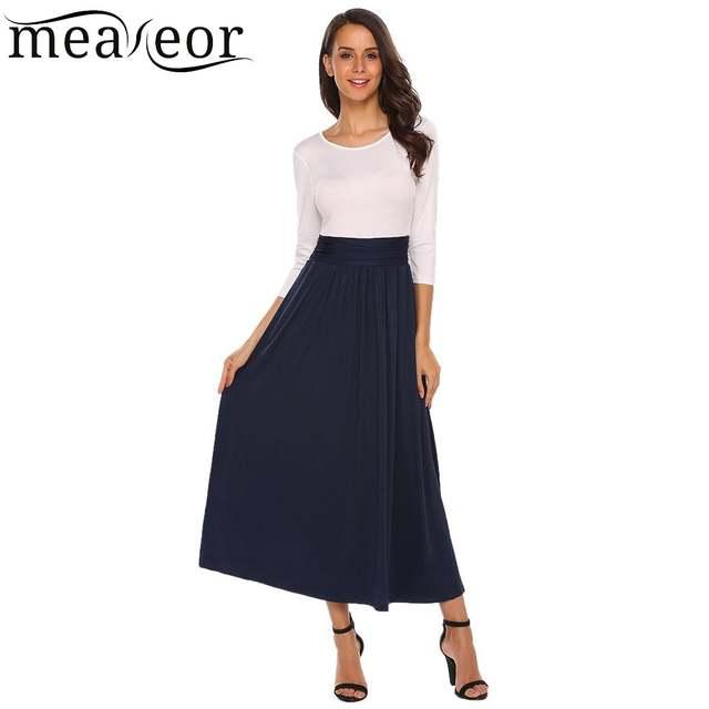 31f553a1b36 US $20.95 49% OFF|Meaneor kobiety sukienki moda O Neck 3/4 z długim rękawem  Patchwork plisowana długa Maxi sukienki zima dół sukienka ...