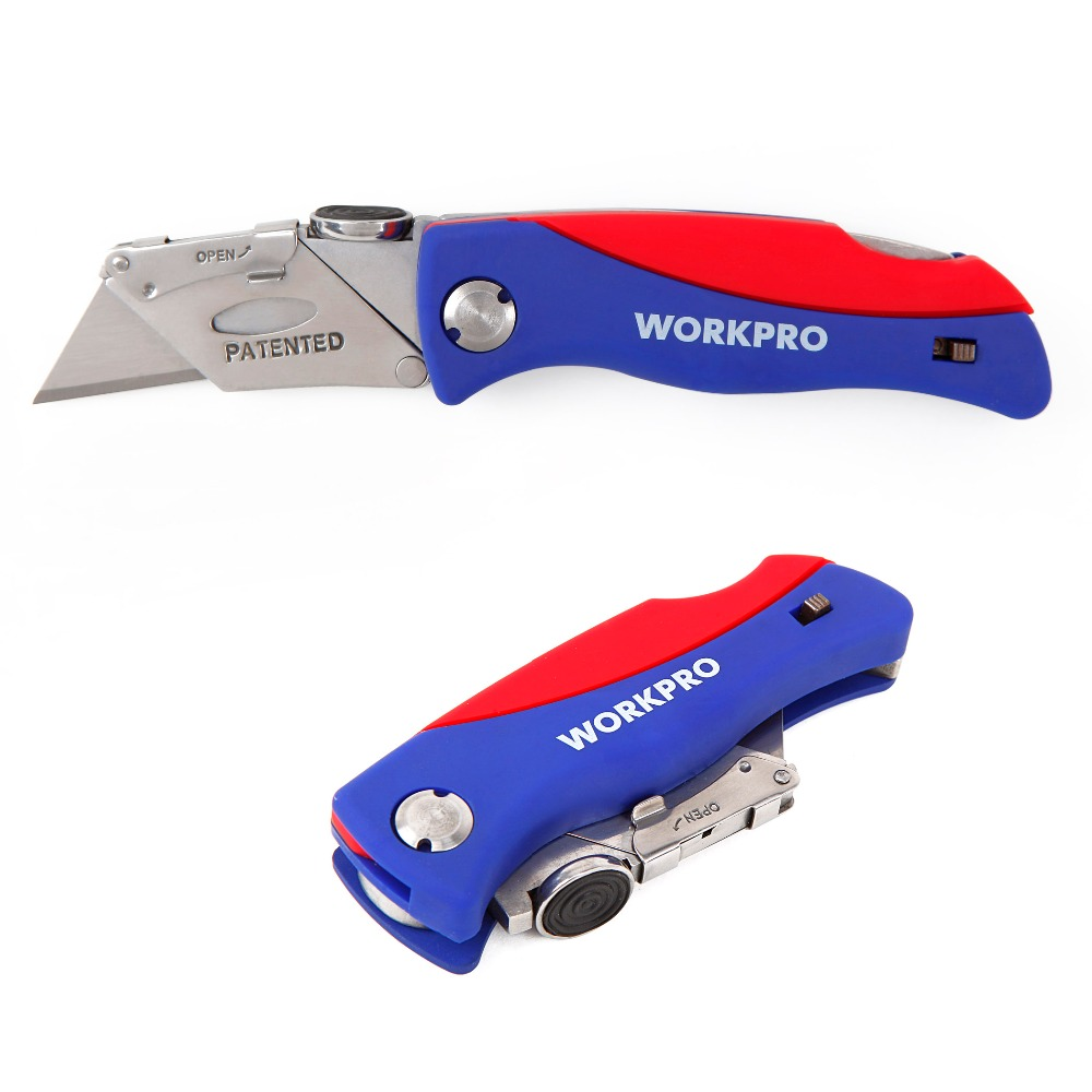 WORKPRO Folding Knife Utility Knife with 5 Blades Electrician Cutter Tool HOT SALE цена