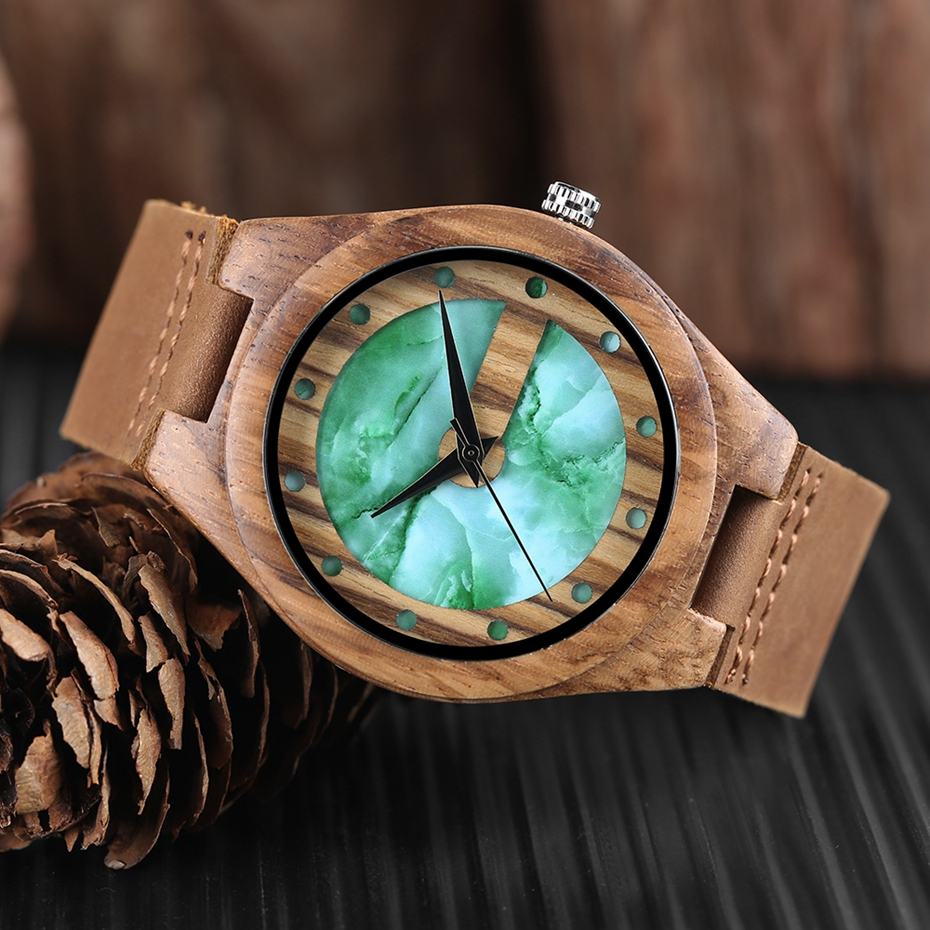 Unique Letter C Shape Luxury Green Marble Dial Men's Watch Genuine Leather Wooden Watches Quartz Watches Men Relogio Masculino Gifts (9)