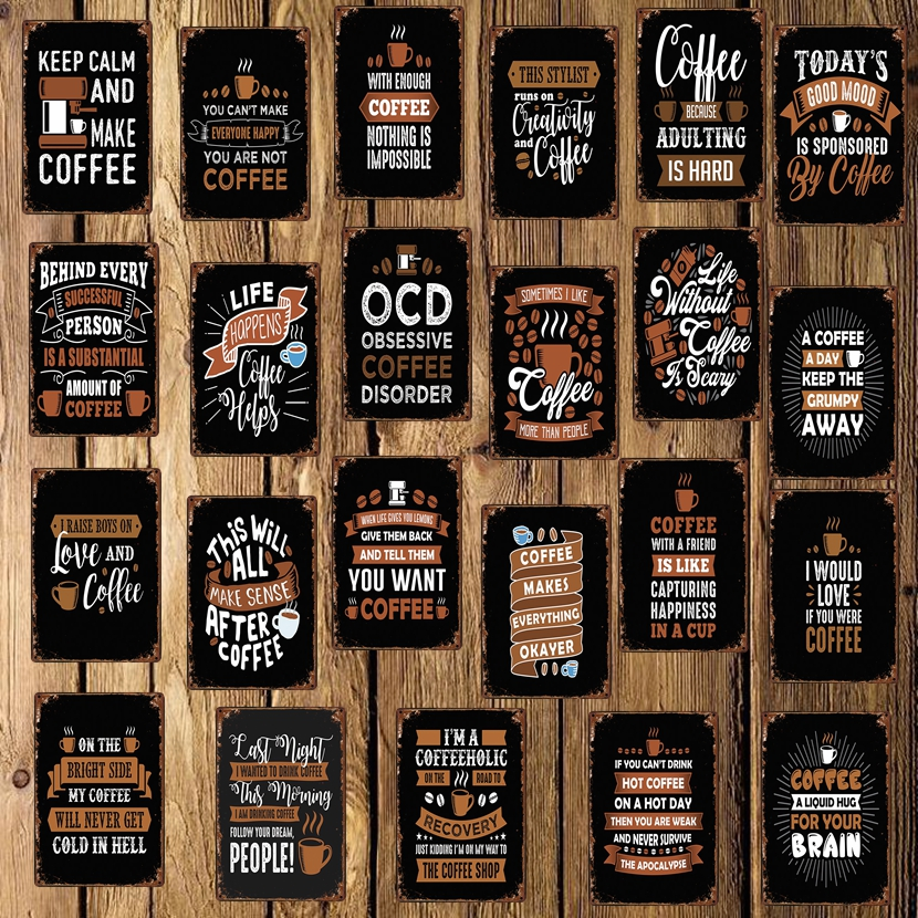 [ WellCraft ] Coffee World quote Correction Metal Signs Wall Sticker Poster Cafe Decor for Pub bar Mural Iron Painting LT-1757 image