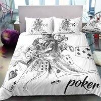 Fanaijia 3D sugar Skull Bedding and duvet cover poker skull Duvet Cover with pillow case queen size comforter sets