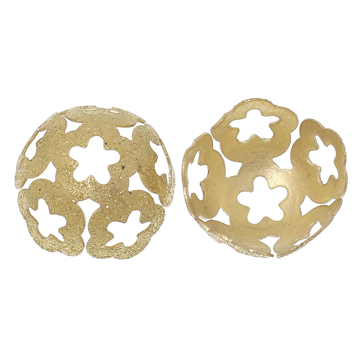 DoreenBeads Brass Beads Caps Findings Brass Tone Blank(Fits 16mm Beads)Flower Hollow 18mm(6/8)x 17mm(5/8),30 PCs 2015 new