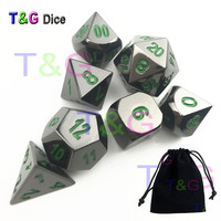 T G Top Quality Shinny Sliver X Green Digital Role Playing Game Dice 7pcs Set Metal