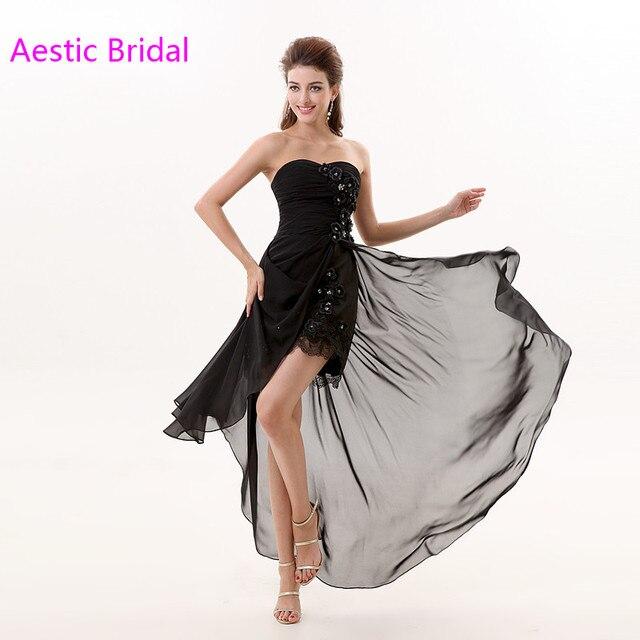 7c37b5f834 Vestidos De Gala Negro Sin Tirantes Alto Bajo Gasa Vestido de Fiesta Vestido  de Fiesta Con