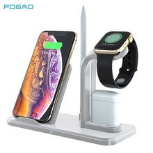FDGAO Fast Wireless Charger Dock Station For iPhone X XR XS Max 8 Plus For Apple Watch For AirPods QI Wireless Charging Stand fdgao 3 in 1 charging dock station stand for airpods apple watch 10w fast qi wireless charger for iphone x xs max xr 8 7 6 plus