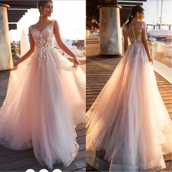 Blush Pink Wedding Dresses 2019 New Beach Country Lace Appliques A