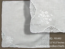 Fashion Womens Handkerchiefs 12PCS/Lot 12x12White 100% Cotton Ladies Wedding Handkerchiefs Embroidered Lace Hankies For Baide