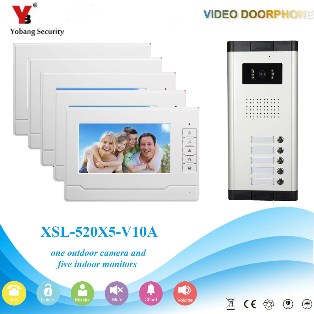 YobangSecurity Video Intercom 7Inch Wired Video Door Phone Doorbell Intercom Monitor Camera Bell System For 5 Units Apartment yobangsecurity wifi wireless video door phone doorbell camera system kit video door intercom with 7 inch monitor android ios app